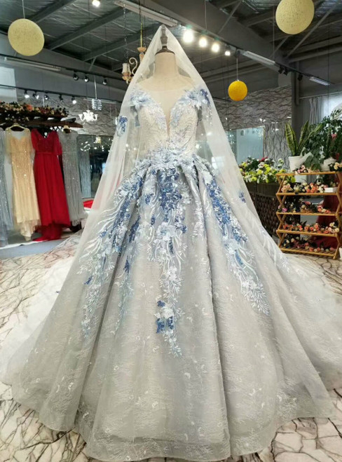 Gray Tulle Embroidery Appliques Cap Sleeve Luxury Wedding Dress With Beading