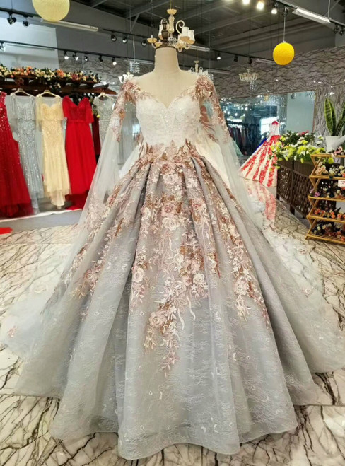 Gray Ball Gown Tulle Appliques V-neck Haute Couture Luxury Wedding Dress