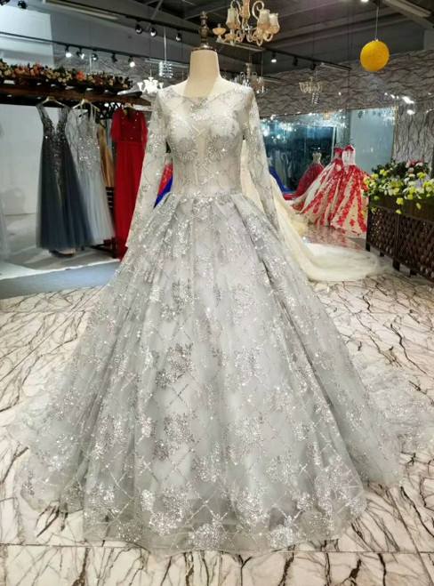 Silver Gray Ball Gown Tulle Sequins Long Sleeve Backless Luxury Wedding Dress