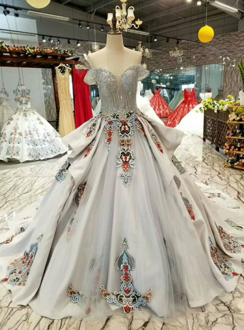 Gray Satin Sequins Embroidery Off the Shoulder Luxury Wedding Dress With Long Train
