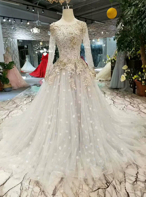 Gray Ball Gown Tulle Long Sleeve Backless Luxury Wedding Dress With Beading