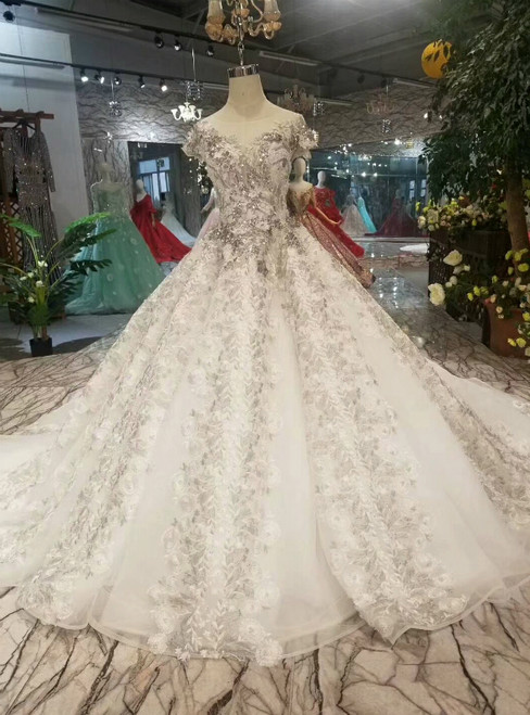 Champagne Ball Gown Tulle Cap Sleeve Gray Appliques Backless Luxury Wedding Dress