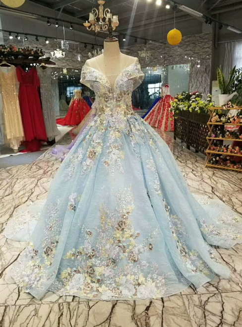 Blue Ball Gown Tulle Lace See Trough V-neck Cap Sleeve Appliques Luxury Wedding Dress