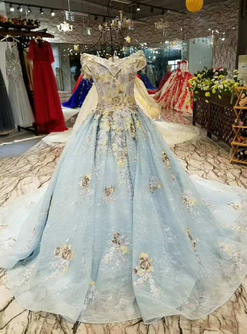 Blue Ball Gown Tulle Lace Off the Shoulder Appliques Luxury Wedding Dress