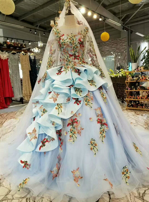 Blue Ball Gown Tulle Embroidery Appliques Luxury Wedding Dress With Beading
