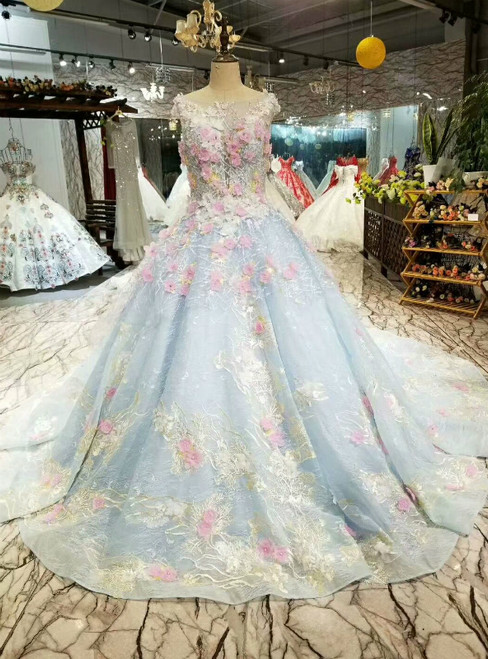 Blue Ball Gown Tulle Pink Appliques Bateau Luxury Wedding Dress