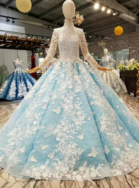Blue Ball Gown Tulle Long Sleeve High Neck White Appliques Luxury Wedding Dress
