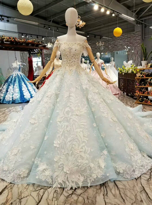 Light Blue Ball Gown Off the Shoulder Appliques Beading Luxury Wedding Dress With Long Train