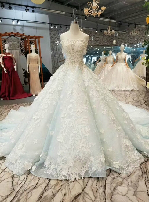 Blue Ball Gown Tulle Appliques Off the Shoulder Short Sleeve Luxury Wedding Dress