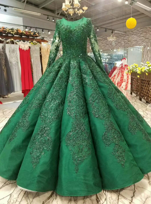 Dark Green Appliques Sequins Long Sleeve Floor Length Luxury Wedding Dress