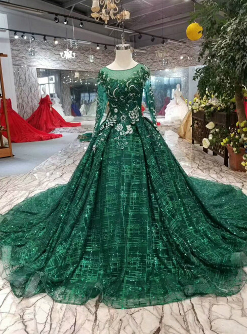 Green Ball Gown Tulle Sequins Long Sleeve Appliques Luxury Wedding Dress
