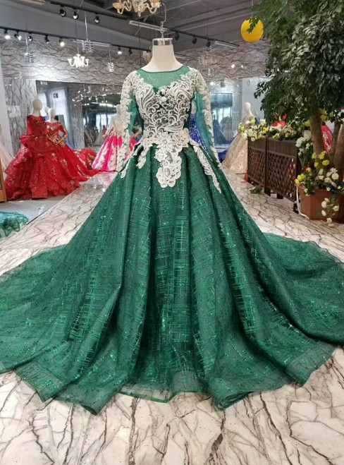 Green Ball Gown Sequins Long Sleeve Appliques Luxury Wedding Dress