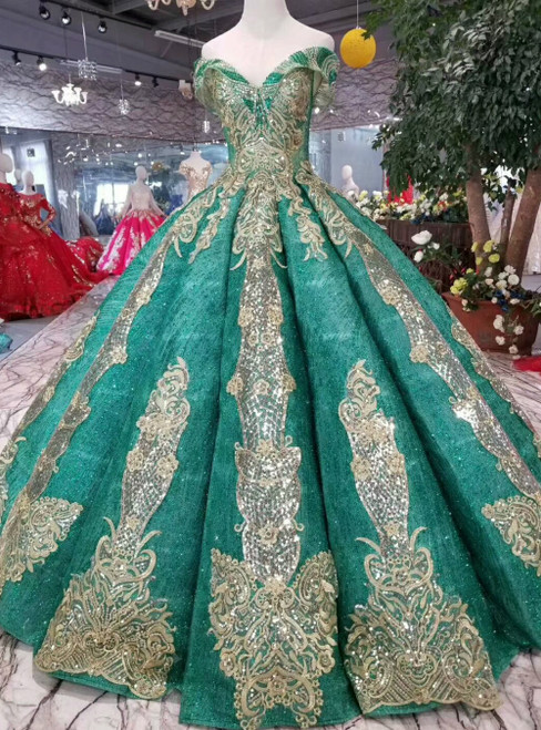Green Ball Gown Sequins Champagne Appliques Off the Shoulder Luxury Wedding Dress