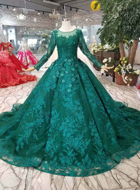 Dark Green Lace Appliques Long Sleeve Luxury Wedding Dress With Beading