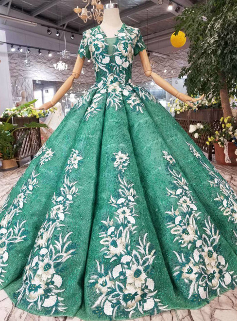 Green Ball Gown Sequins V-neck Short Sleeve Appliques Luxury Wedding Dress