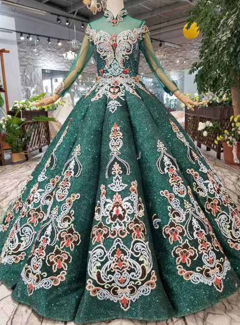 Dark Green Sequins Embroidery High Neck Long Sleeve Luxury Wedding Dress