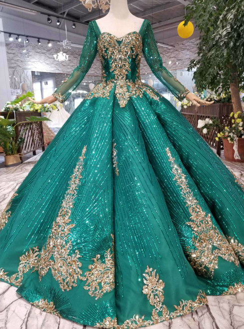 Green Ball Gown Sequins Square Long Sleeve Luxury Wedding Dress