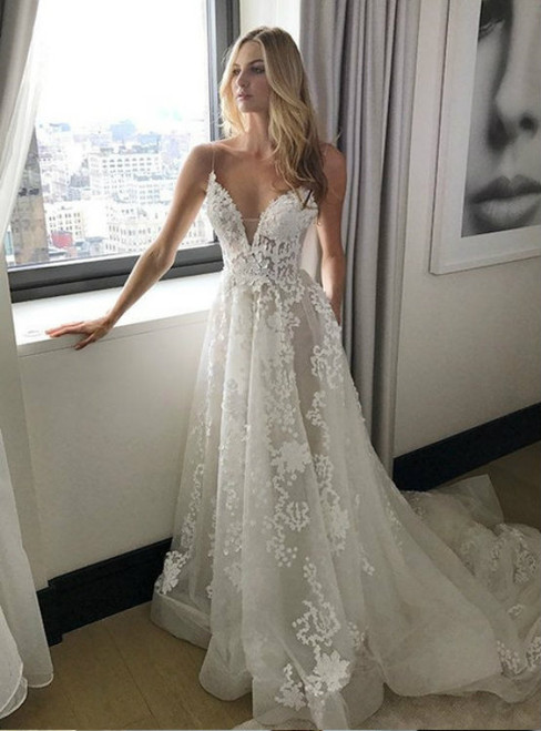 Simple Spaghetti Straps Sweep Train Backless Wedding Dress