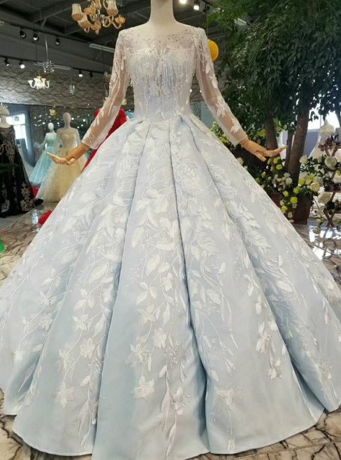 Light Blue Ball Gown Appliques Long Sleeve Floor Length Wedding Dress With Beading