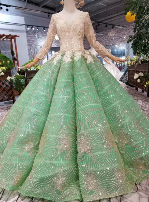 Green Ball Gown Sequins See Through V-neck Long Sleeve Luxury Wedding Dress With Beading