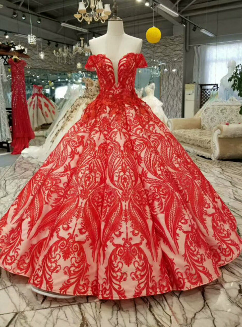Red Ball Gown Sequins Appliques Off the Shoulder Luxury Wedding Dress With Beading