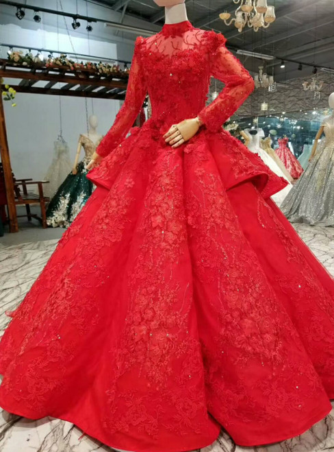 Red Ball Gown Tulle High Neck Long Sleeve Appliques Luxury Wedding Dress
