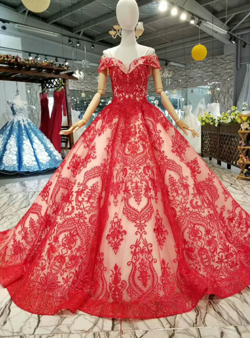 Red Ball Gown Tulle Lace Appliques Off the Shoulder Luxury Wedding Dress