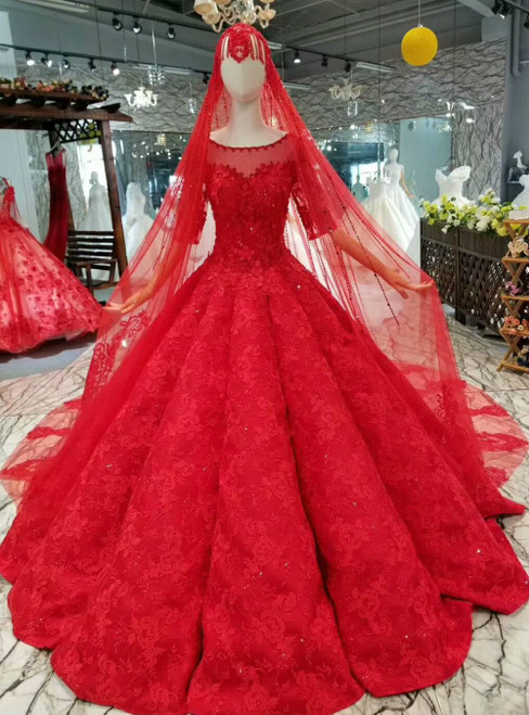 Red Ball Gown Lace Appliques Short Sleeve Luxury Wedding Dress With Beading