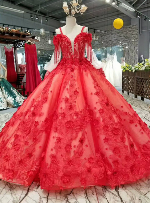 Red Ball Gown Tulle Spaghetti Straps Puff  Long Sleeve 3D Flower Luxury Wedding Dress