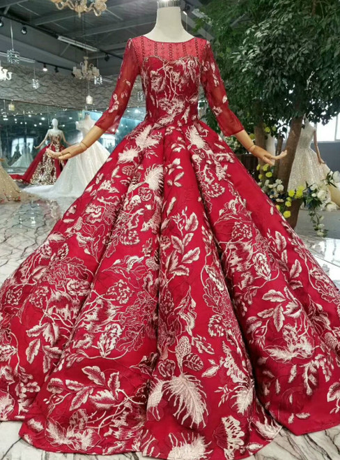 Dark Red Satin Appliques Long Sleeve Floor Length Wedding Dress