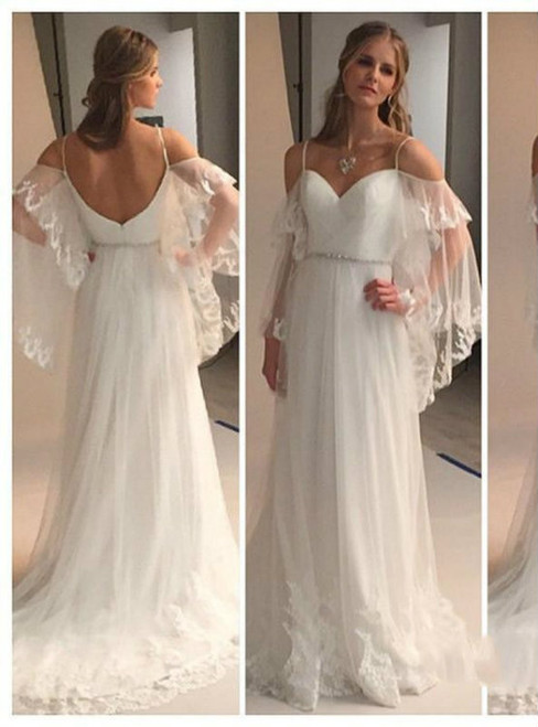 Sexy Romantic Bohemian Wedding Dresses with Batwing Sleeve