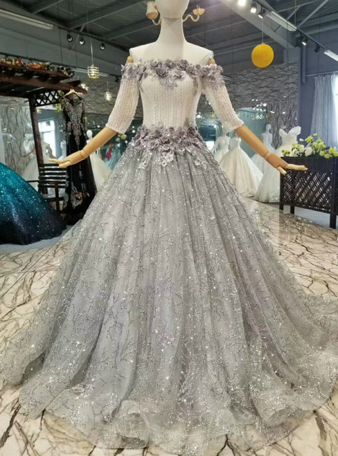 Silver Gray Tulle Sequins Off the Shoulder Short Sleeve Appliques Luxury Wedding Dress