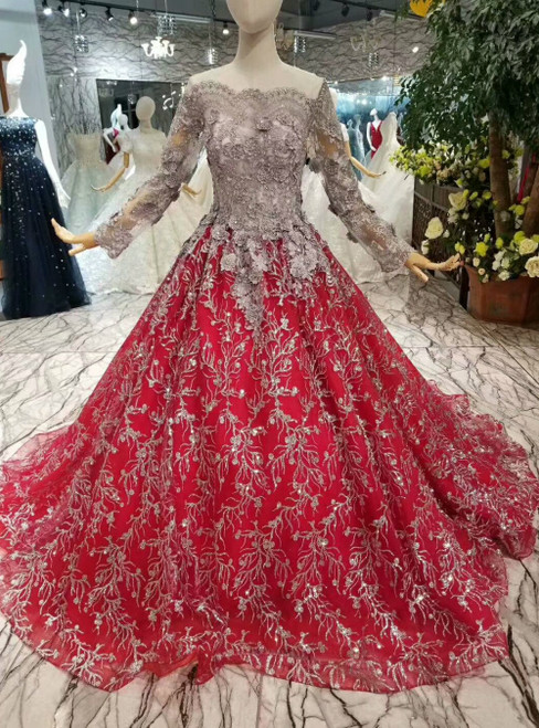 Red Tulle Sequins Gray Appliques Backless Long Sleeve Luxury Wedding Dress With Beading