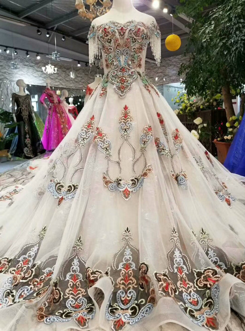 Gray Ball Gown Tulle Embroidery Cap Sleeve Luxury Wedding Dress With Beading