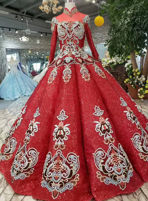 Red Ball Gown Sequins High Neck Long Sleeve Embroidery Floor Length Wedding Dress
