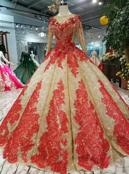 Gold Ball Gown Sequins Long Sleeve Red Appliques Luxury Wedding Dress
