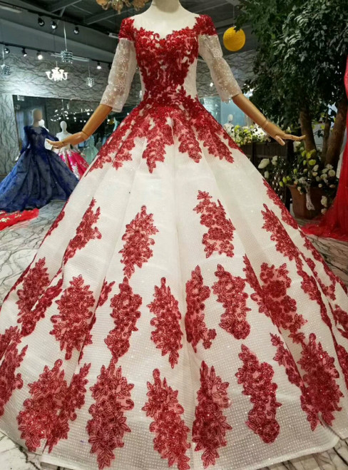 Light Champagne Sequins Short Sleeve Red Sequins Luxury Wedding Dress With Beading
