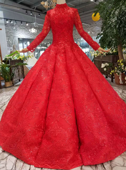 Red Ball Gown Lace Appliques Sequins High Neck Long Sleeve Luxury Wedding Dress