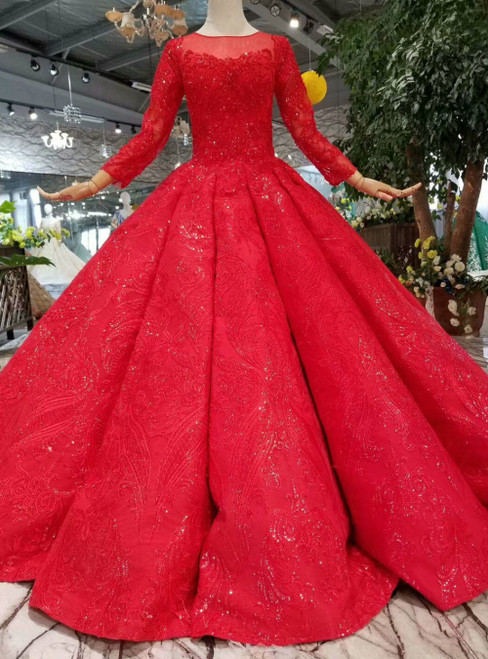 Red Ball Gown Tulle Lace Appliques Long Sleeve Luxury Wedding Dress With Train
