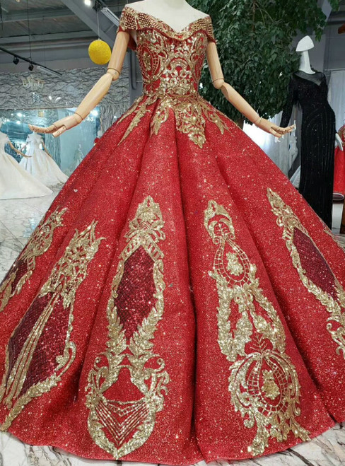 Red Ball Gown Sequins Off the Shoulder Gold Appliques Luxury Wedding Dress