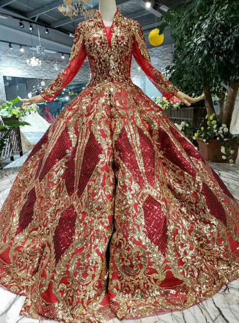 Red Ball Gown Sequins V-neck Long Sleeve Gold Sequins Appliques Luxury Wedding Dress