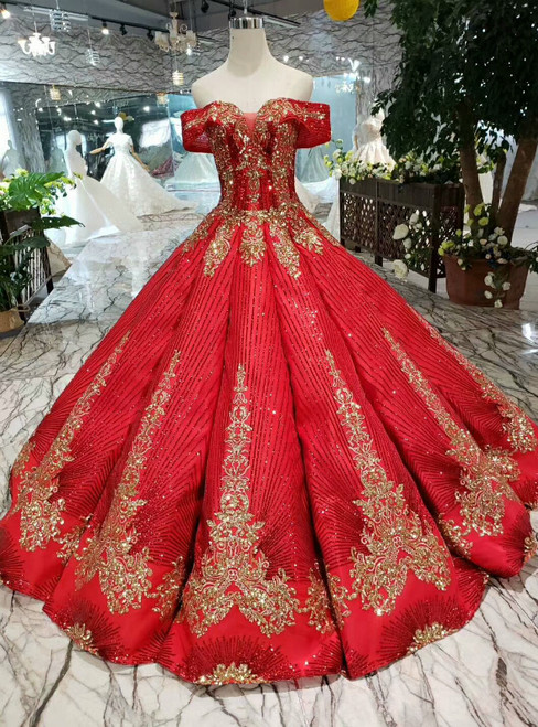 Red Ball Gown Gold Sequins Appliques Off the Shoulder Luxury Wedding Dress