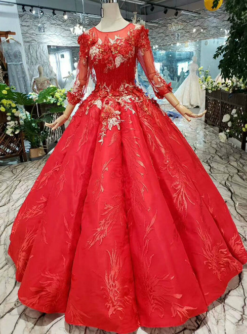 Red Ball Gown Satin Appliques Long Sleeve Luxury Wedding Dress With Beading