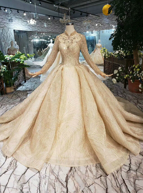 Champagne Ball Gown Tulle Lace High Neck Long Sleeve Luxury Wedding Dress