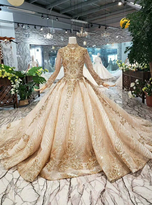 Champagne Gold Ball Gown Sequins High Neck Long Sleeve Luxury Wedding Dress With Train