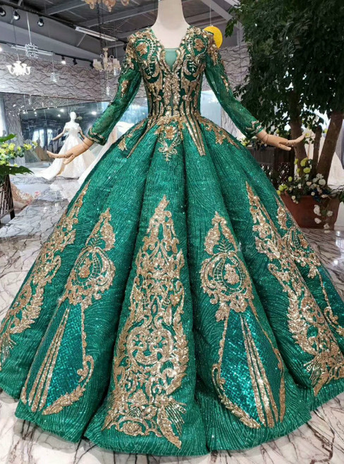 Green Ball Gown Sequins V-neck Long Sleeve Floor Length Luxury Wedding Dress