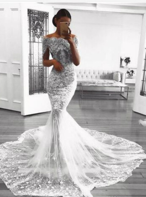 Retro Lace Mermaid Wedding Dresses Appliques Beads Tulle See Through Bridal Gowns