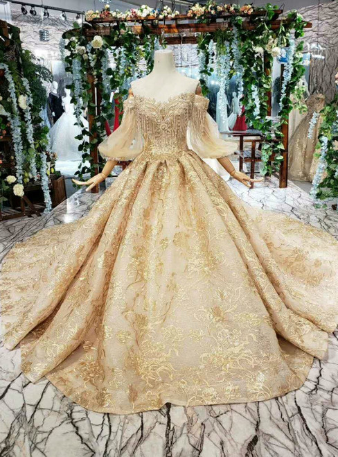 Dark Champagne Lace Off the Shoulder Puff Long Sleeve Luxury Wedding Dress With Beading