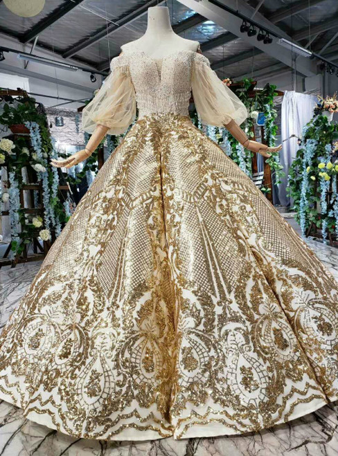 Gold Sequins Off the Shoulder Long Sleeve Beading Luxury Wedding Dress