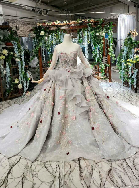 Gray Ball Gown Tulle Long Sleeve With Colorful Flower Luxury Wedding Dress